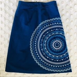 Boden Blue Embroidered A-lone Skirt